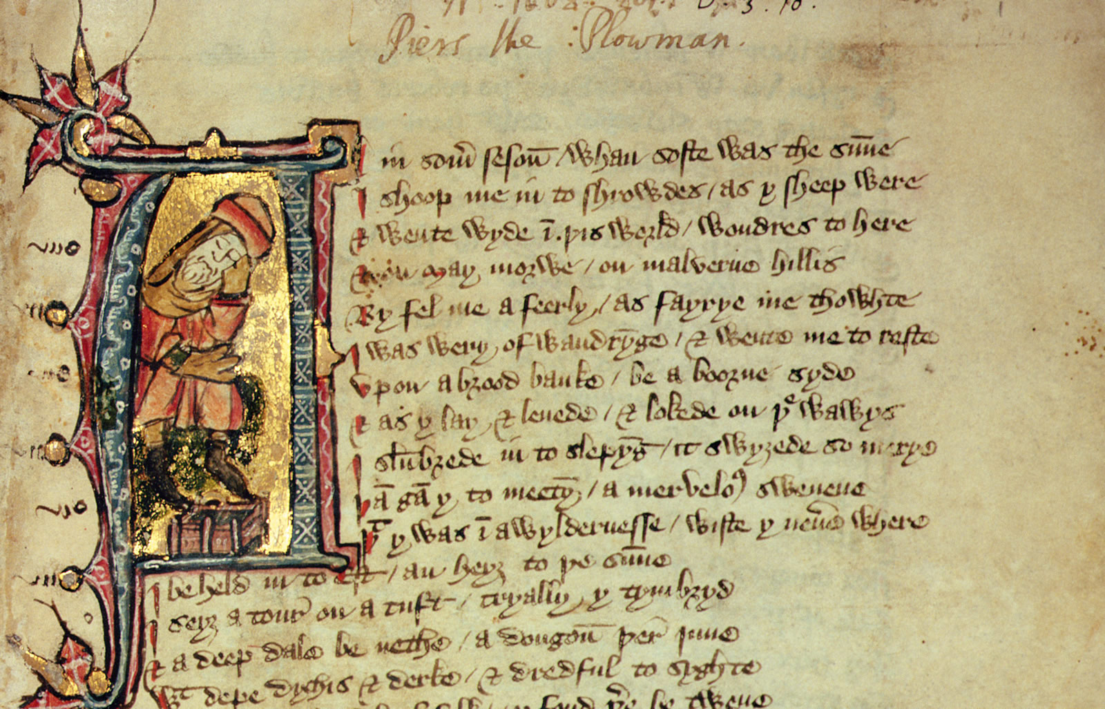 William Langland (d. c. 1386), Piers Plowman [England, perhaps Essex, late 14th century] Written and illuminated on parchment, each leaf c. 295 × 175 mm Call-number: MS 201