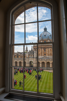 View from window of Radcliffe Camera across lawn
