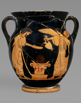 AN1924.3 Attributed to the Berlin Painter, Athenian red-figure amphora (storage jar); Zeus and the winged goddess of victory Nike pour a libation on a flaming alter, 525 – 475 BC. Image © Ashmolean Museum, University of Oxford.