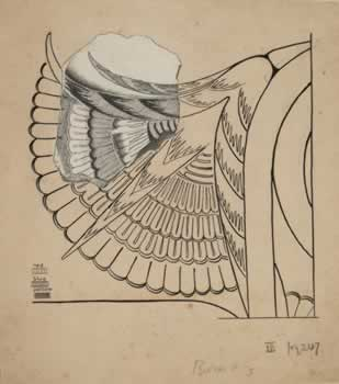 Evans Fresco Drawing G a, Fragment of paint relief of papyrus flower. Image © Ashmolean Museum, University of Oxford