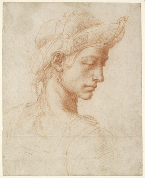 WA1846.61 Michelangelo Buonarroti, Ideal Head, c. 1520. Image © Ashmolean Museum, University of Oxford.