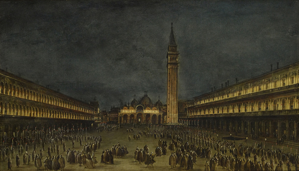 WA1927.1 Francesco Guardi, A Night Procession in the Piazza San Marco, c. 1755. Image © Ashmolean Museum, University of Oxford.