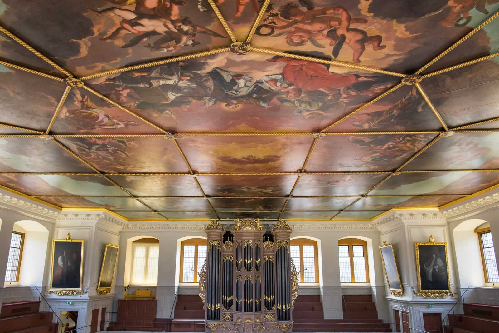The fully restored ceiling of the Sheldonian Theatre