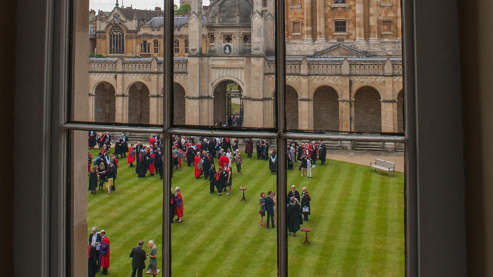 View from window of garden party by Radcliffe Camera