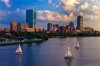 Ships sailing past Boston