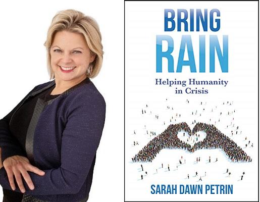 sarah petrin headshot and book